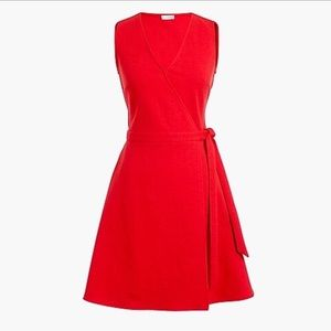 NWT J BY J CREW RED SLEEVELESS  WRAP DRESS